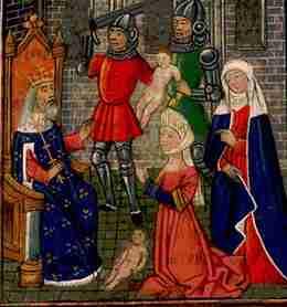Le jugement de Salomon; 1465 miniature sur parchemin; «Bible moralisée» des Flandres manuscrit  Bibliothèque royale, La Haye